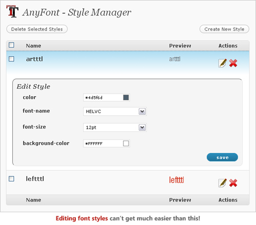 AnyFont WP Plugin Management