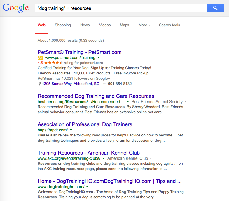 Dog training resources search screenshot