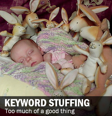 Keyword stuffing: Baby on bed with stuffed bunnies