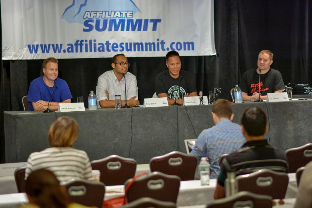 John Rampton, Syed Balkhi, John Chow and Zac Johnson at Affiliate Summit 2015