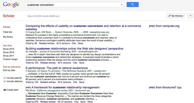 Research results from Google Scholar