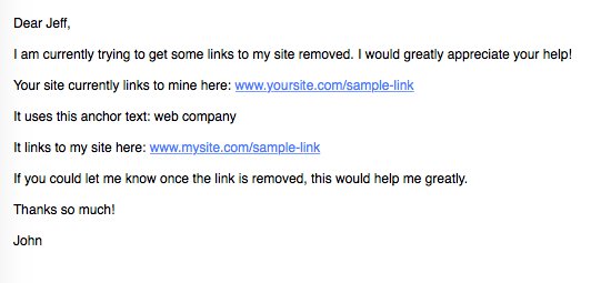 Sample link removal email