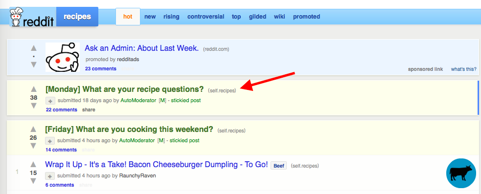 Subreddits cooking screenshot