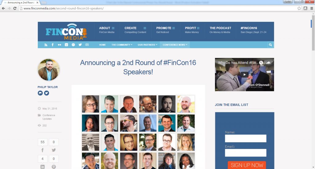 Announcing a 2nd Round of #Fincon16 Speakers-with John Rampton