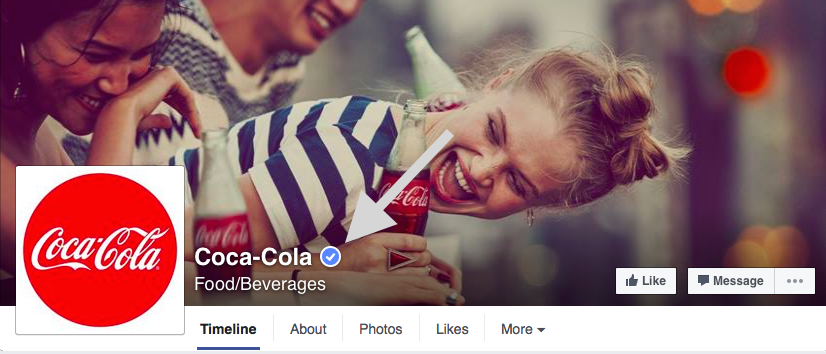 Facebook verified page--coca cola