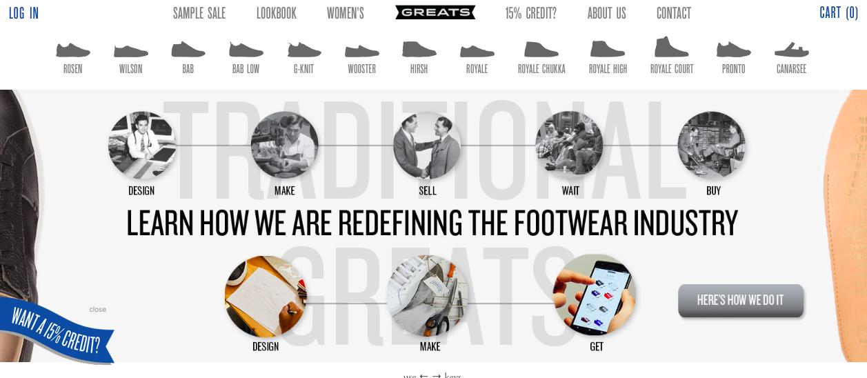 Greats footwear screenshot