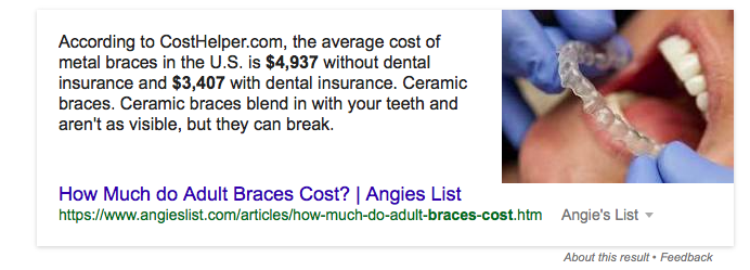 Featured snippet example: cost of braces