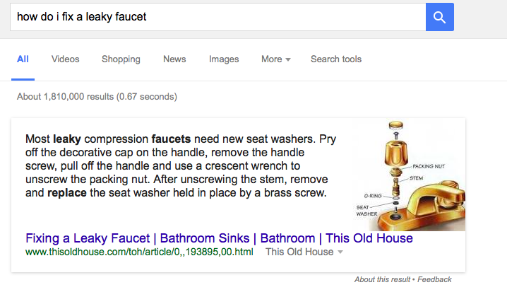 Featured snippet: How to fix a leaky faucet
