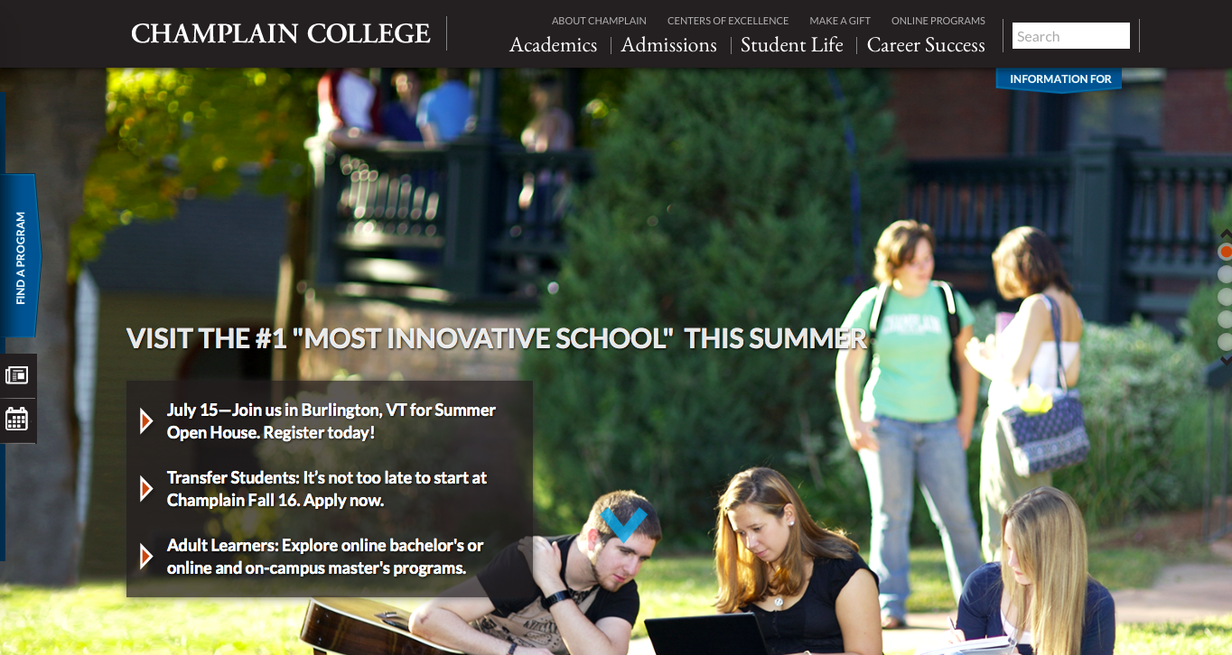 Champlain College homepage