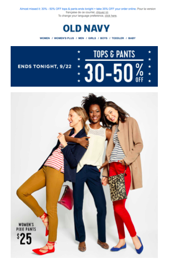 Example of email marketing from Old Navy