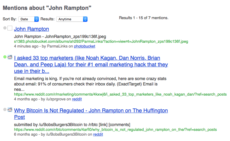 Social Mention screenshot John Rampton