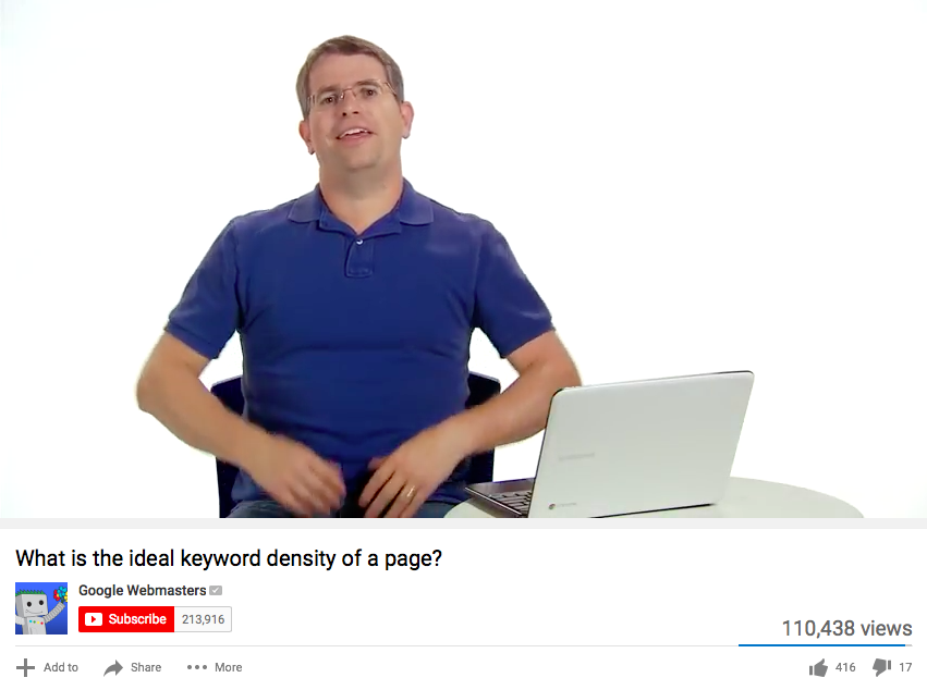 Matt Cutts video about keyword density