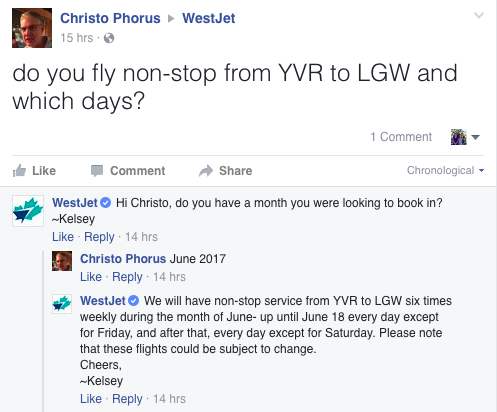 Westjet Facebook post