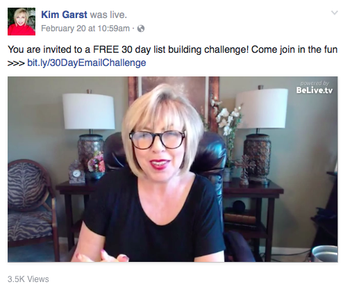 Kim Garst Facebook offer